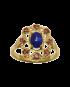 Pierścionek, szafir z rubinami. PC 39